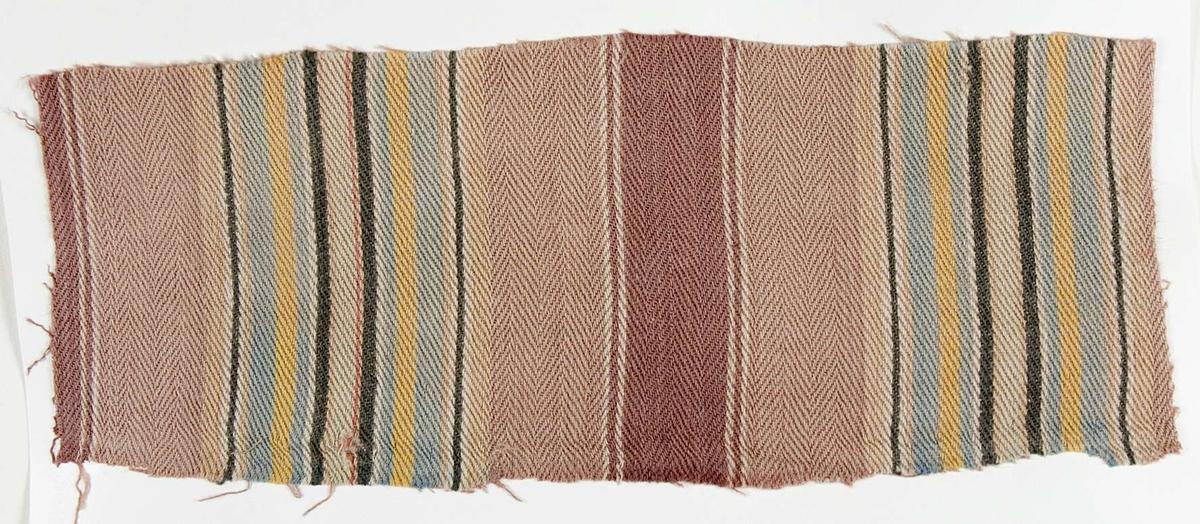 """Vävprov ämnat för bolstervarstyg vävt med bomullsgarn i kypert. Randigt i rosa, gult, ljust blått, ljust brunt, grönt och svagt violett. Vävprovet är uppklistrat på en kartong i storleken 22 x 28 cm. I övre högra hörnet finns en stämpel """"Uppsala läns hemslöjdsförening"""" och ett handskrivet nummer, """"A.1746"""""""