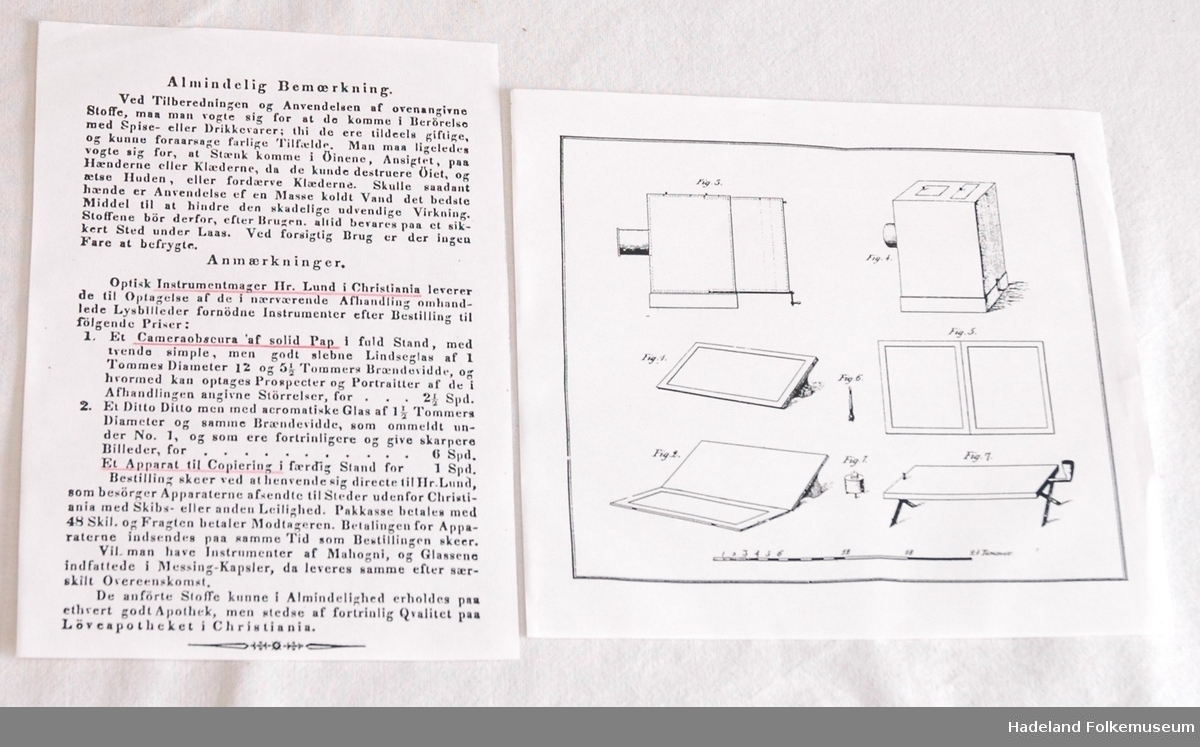 Preget skinnrygg og hjørner, marmorerte kartongpermer. Illustrert. S. 219 brukt til utstilling i 1981 om Gulden og fotografering. S. 276 viser første fotografi publisert i Norge.
