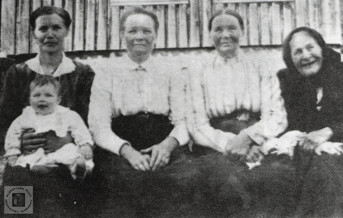 5 generasjoner samla på Høyland. Grindheim Audnedal.