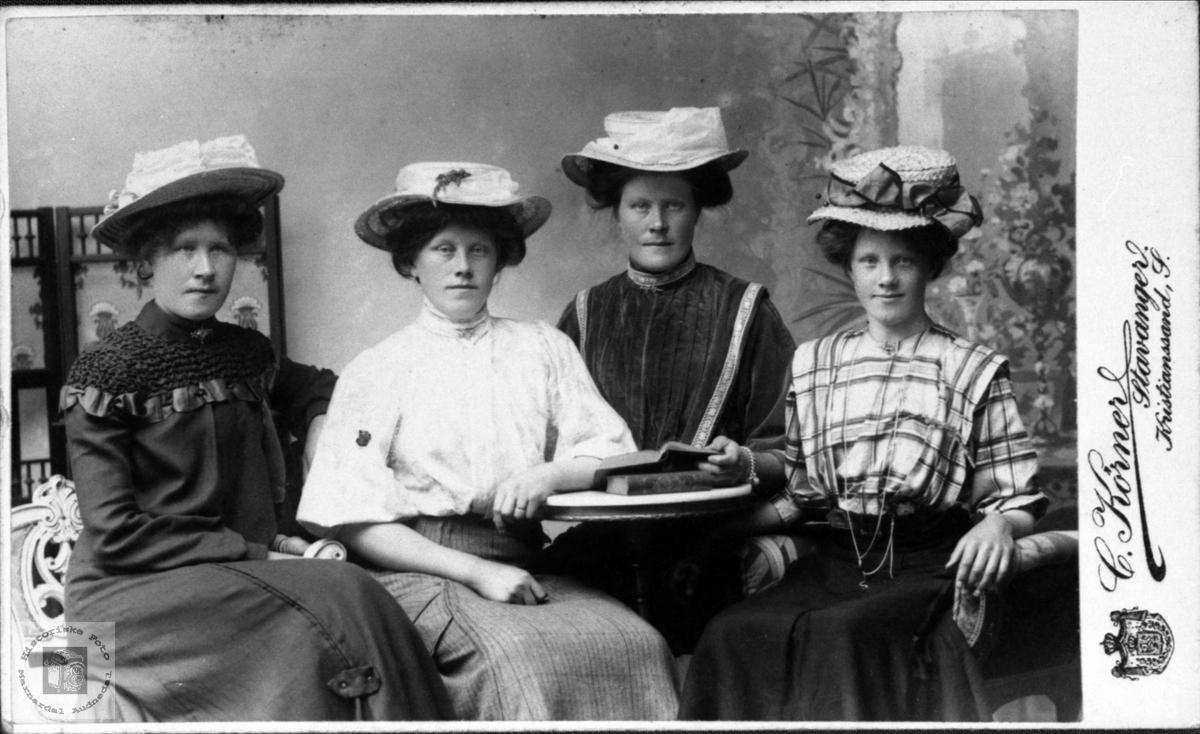 Portrett av 4 Søstre på Stedjan, Bjelland.