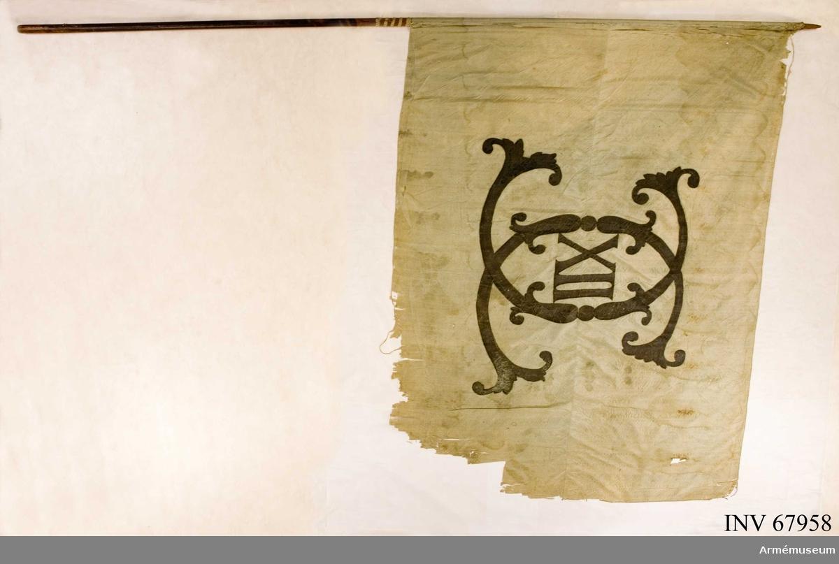 Duk: Fana av blå sidentaft med Karl XII:s namnchiffer. Sydd av två horisontella våder.  Dekor: Målad omvänt lika på båda sidor: Karl XII:s namnchiffer - stort spegelmonogram av C inneslutande XII tennlikor, med blått kypertvävt band. Bandet fortsätter i spiral en bit ner över stången.  Stång: Tillverkad av brunmålad furu. På denna har tidigare varit fäst en högre fana. Hålen eftertennlikorna är fyllda med tränubbar. Spets och holk saknas.