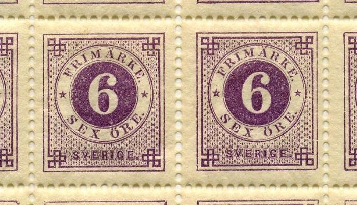 Helark bestående av 100 frimärken i valören 6 öre. Frimärket är rödlilal, med en stående rektangulär ram och dubbla cirklar i mitten, där siffran 6 i vitt är placerad i den inre cirkeln med rödlila bakgrund. I den yttre cirkeln med vit bakgrund står med rödlila text: Frimärke, sex Öre. Längst ner texten: Sverige.