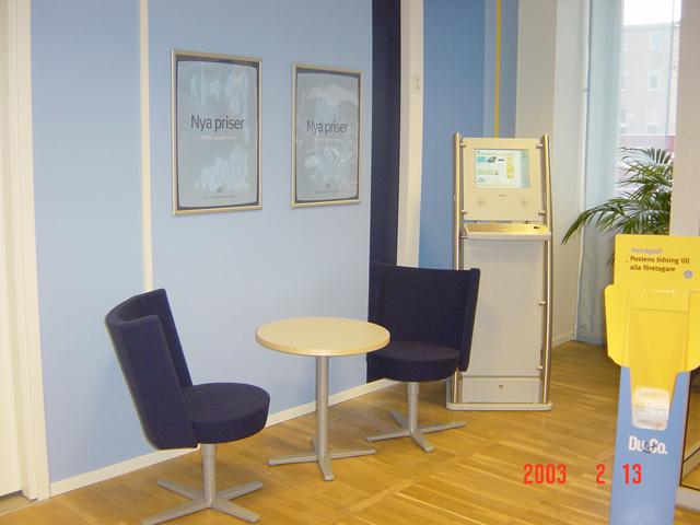 """Kunddatorn fanns på prov under ett kort tag på ett fåtal Postcenter. Kunderna kunde gå in på www.posten.se och söka information. """"Du&Co"""" är """"Postens tidning till alla företagare"""". Tidningen är gratis."""