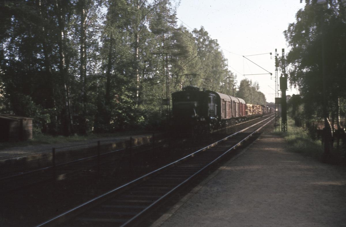 Godstog ved Myra holdeplass på Drammenbanen. Toget trekkes av elektrisk lok type El 1.