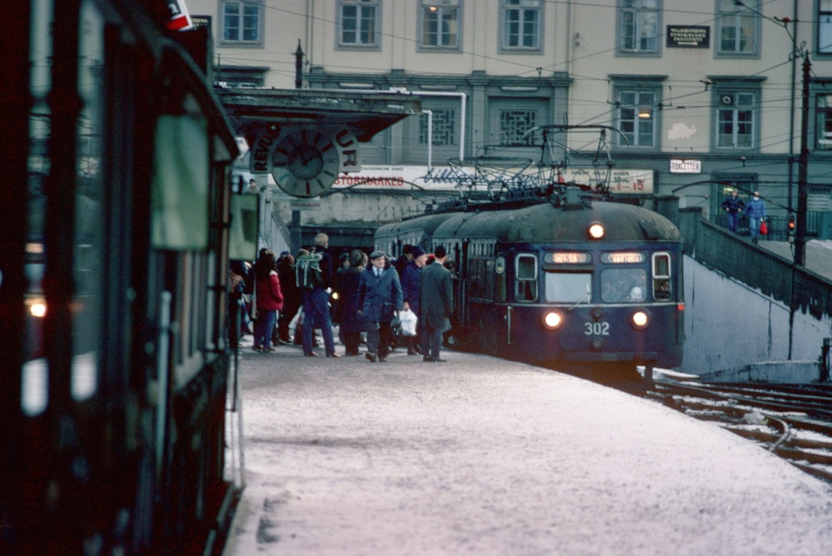 Oslo Sporveier. Tog til Kolsås på Majorstuen stasjon. Vogner type C1 og C2.