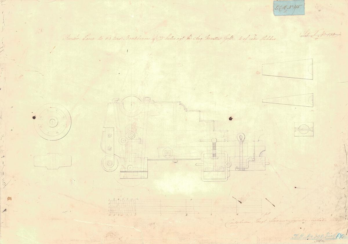 3 st ritningar visande kursörlavetter till 6½tums bombkanoner av 175 kg vikt för ångkorvetten Gefle