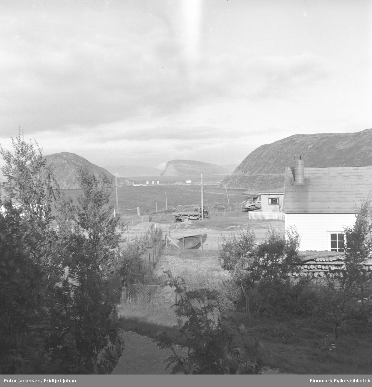 Utsikt fra Arne Nakkens tomt i Rypefjord. En god del løvtrær står i forgrunnen med et nettinggjerde rett bak. El-stolper står langs Fjordaveien, midt på bildet. Et lite hus ses bak Veivesenets brakke som står til høyre på bildet. En stor stabel med tømmerstokker ligger langs veggen. Over havna/Rypfjorden ses Essos tankanlegg på Rypeidet. Fjellene på sidene er Rypklubben til venstre på bildet og Rypefjell til høyre. Øya Håja ses ute i Sørøysundet rett over tankanlegget.
