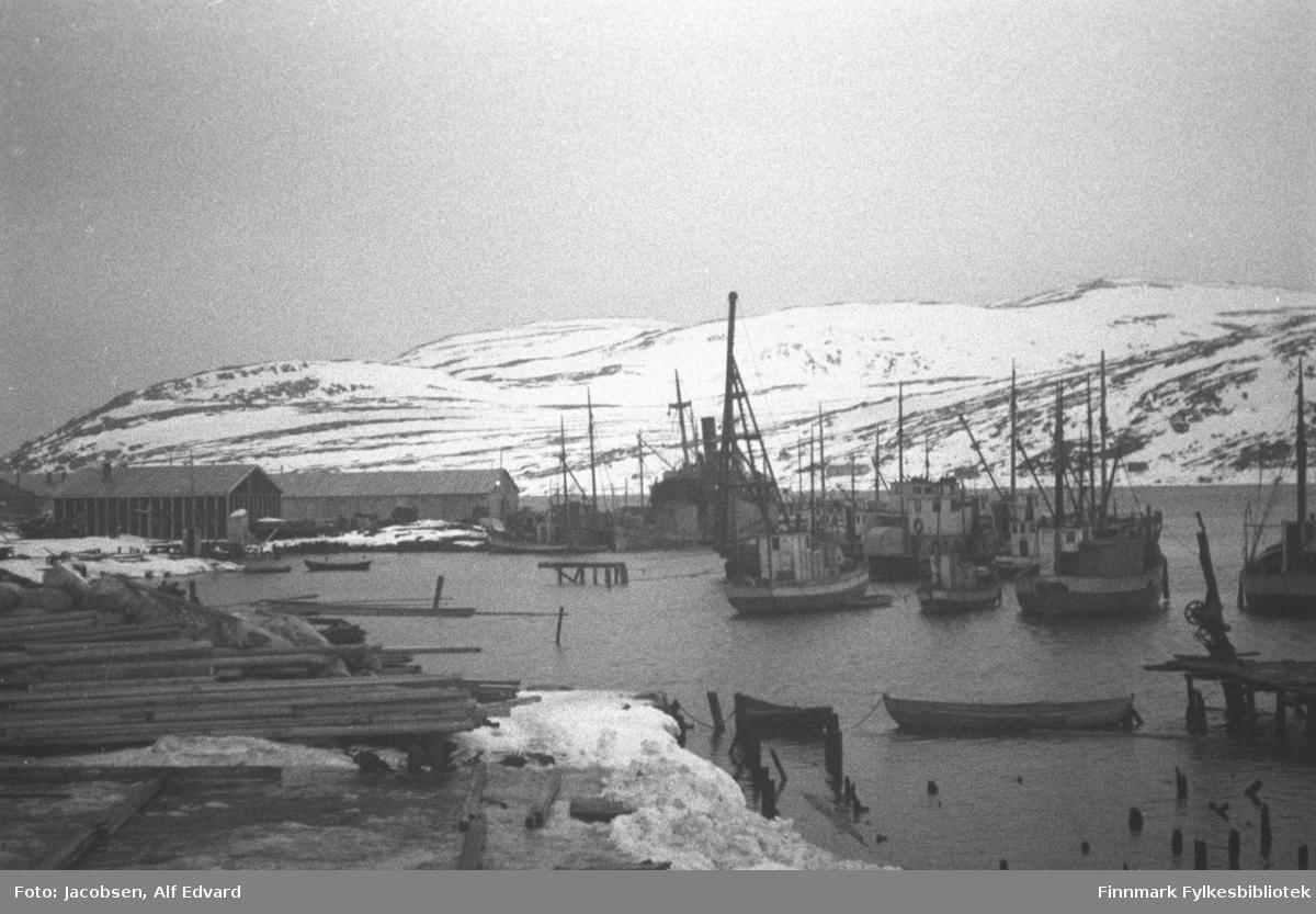 Bildet er tatt av havna i Hammerfest, antagelig våren 1946. Nederst til venstre ligger det byggemateriale klar til bruk. En del båter ligger fortøyd ute på havna. To store bygg står på neset i bakgrunnen og en større båt med høy skorstein ligger i enden av neset. En liten brygge står nederst til høyre på bildet. En lettbåt av tre ligger fortøyd ved siden av. Gamle kaipåler stikker opp av vannet ved Jernteppet nede til høyre, sannsynligvis rester etter brannen. Noe snø ligger i terrenget foran på bildet. En del snø på Vardfjellet, Storfjellet og Fuglenesfjell bakerst på bildet.