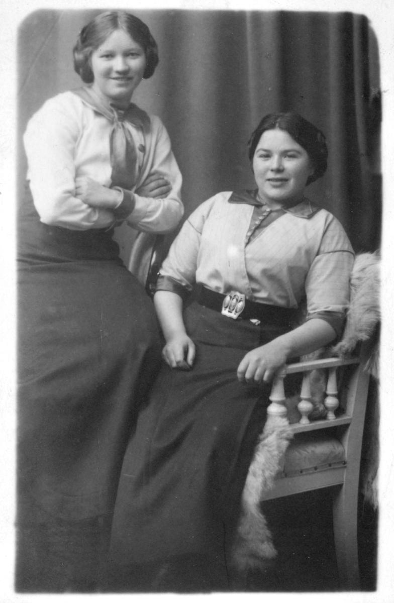 Portrett av to ukjente kvinner laget i form av et postkort som senere ble sendt til en frøken Hilja Hallonen i Vadsø. Kvinnene er kledd i skjorter og skjørt. Kvinnen som sitter i stolen har et belte rundt livet. Hun sitter på en pels. Den stående piken har et sjal rundt skuldrene.