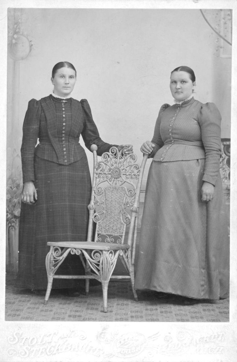 Et portrett av to kvinner. På baksiden av bildet står påskriften: 'Evida Persen'. Det er ukjent om hun er en av kvinnene avbildet, eller om portrettet simpelthen var gitt til Evida Persen. Men trolig er kvinnen det er snakk om Nanna Evida Pedersen. Kvinnene er kledd i kjoler og poserer ved siden av en stol.