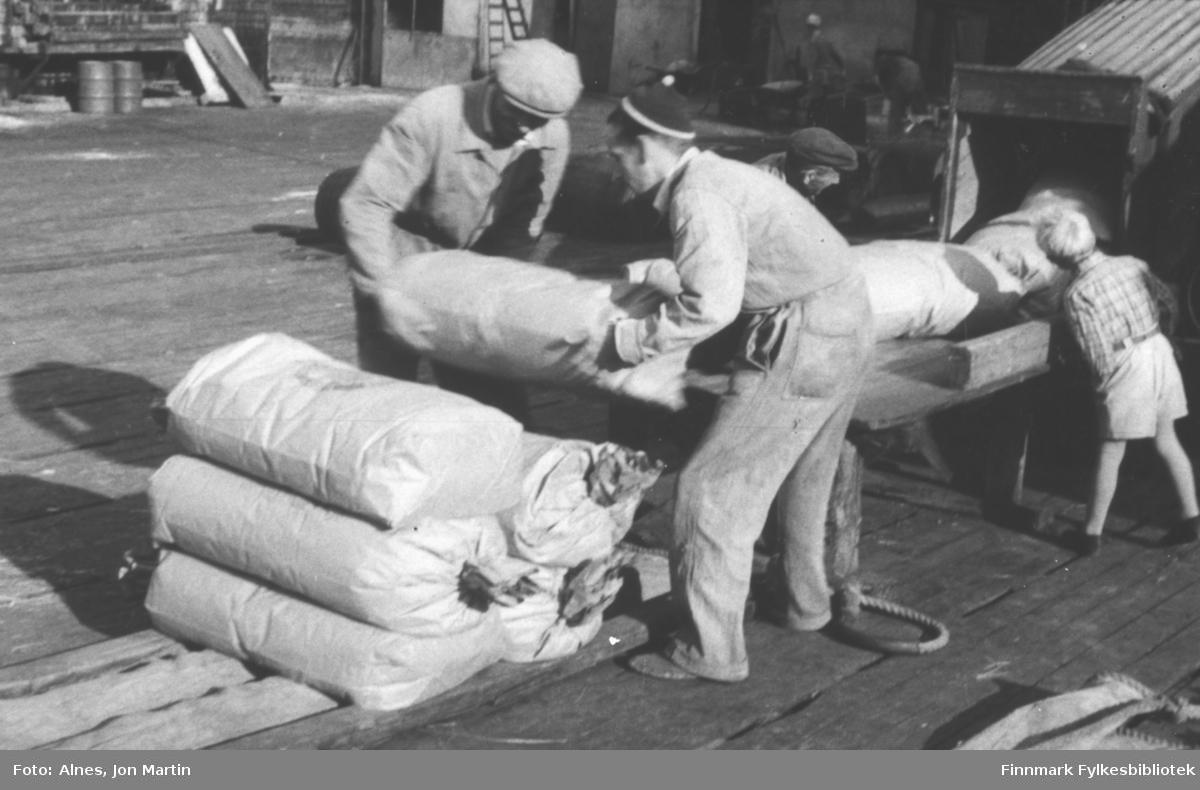 Sekker med fiskemel tas av melrenna ved fabrikken i Øksfjord, 1953. De skal lastes ombord på en båt. Mennene: Ole Johansen (med ryggen til), Charles Christensen og Wilhelm Danielsen. Gutten er ukjent