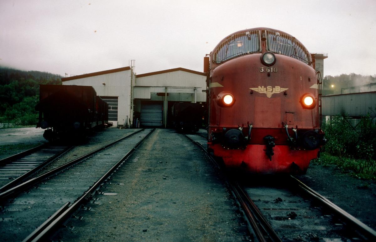Malmtog fra Storforshei i Rana Grubers losseanlegg i Gullsmedvik, Mo i Rana. NSB dieselelektrisk lokomotiv Di 3 610. Til venstre rep-sporet der malmvognene til Rana Gruber vedlikeholdes.