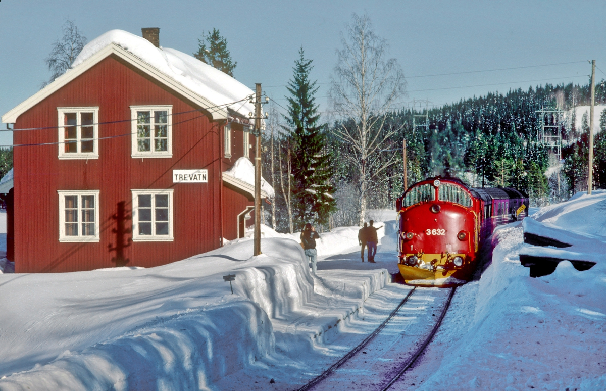 Persontog 281 (Oslo S - Fagernes) stopper på Trevatn holdeplass, Valdresbanen. NSB dieselelektrisk lokomotiv Di 3 632.