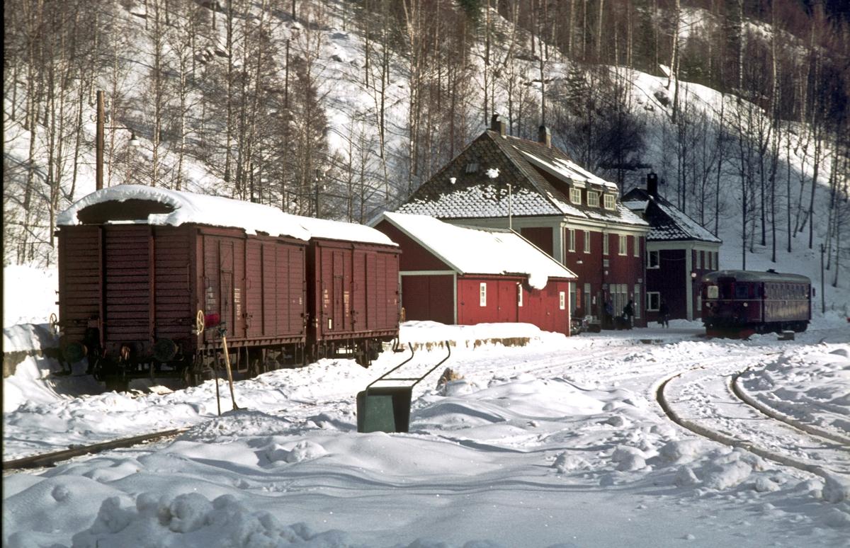Rødberg stasjon, Numedalsbanen, en vinterdag.