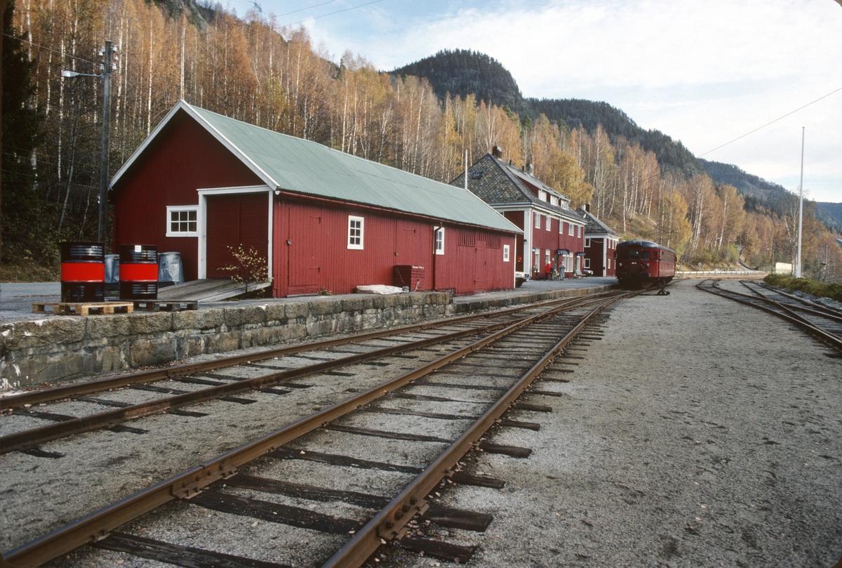 Rødberg stasjon. Godshus og lasterampe.