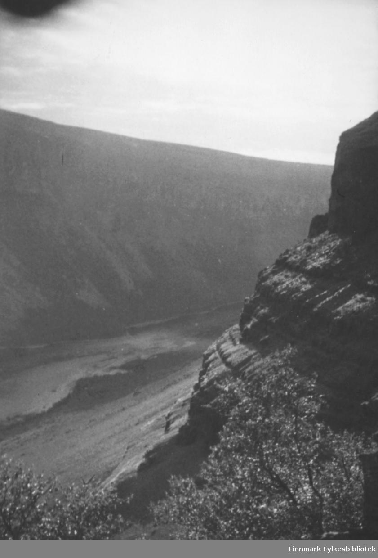 Storelvdalen med Altaelva fotografert høyt oppe fra dalsiden. Vi ser dalens skråninger og bratte sider og i forgrunnen noen trær. Ca.1950-60.