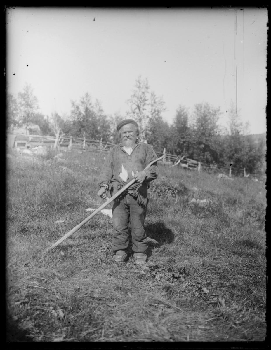 Boris Gleb. En eldre mann med ljå ute på et jorde. Han er kledt i en fillete skjorte, bukse og kommager. Han har skjegg og lue