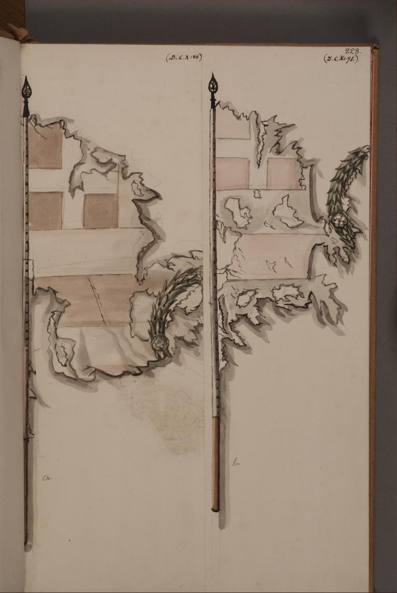 Avbildning i gouache föreställande fälttecken tagna som troféer av svenska armén. De avbildade fanorna finns inte bevarade i Armémuseums samling.