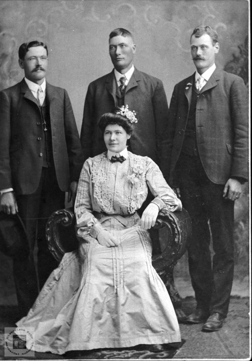 Fire søsken. Ole, Stener, Nils og Anne Gurine Birkeland.