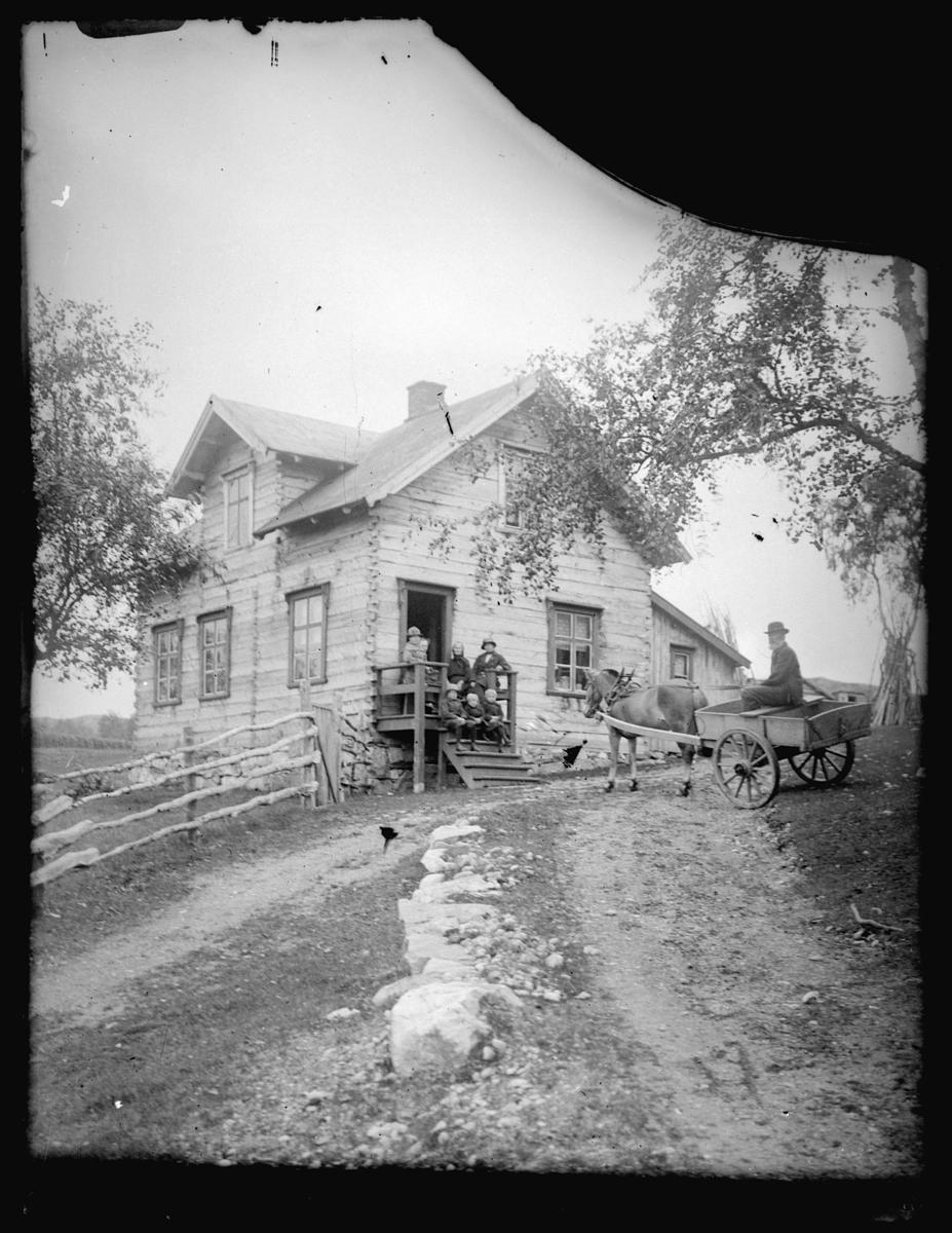 Gruppebilde på trapp. Lafta tømmerhus. Til høyre hest og vogn. Bildet er antagelig tatt i Sør-Varanger.