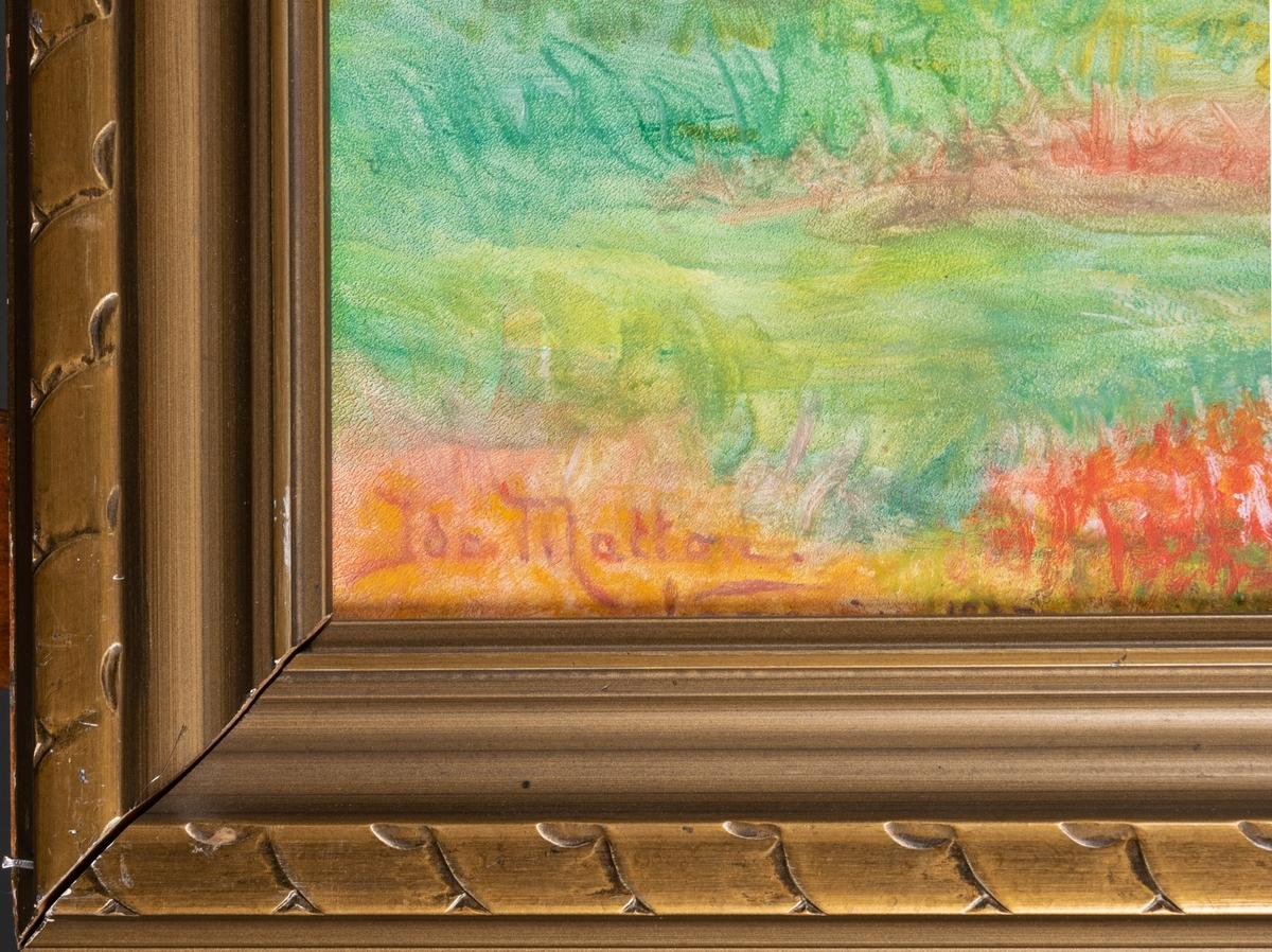 Fjällandskap i höstfärger. Originalram. Etikett på baksidan från utställning: Salon de  l´Union des Femmes Peintures et Sculpteurs. Ida Matton, Paris 233 Rue du Faubourg St Honoré, Peinture, Dernier reg___(?), Laponi, Suède.