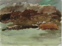 """""""Alger vid klippa, Bohuslän"""" [Akvarellmålning]"""