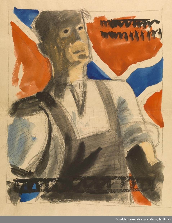 Skisse til 1. Mai-plakat, laget av Herolden reklamebyrå på bestilling fra Nasjonal Samling i årene 1940 - 1945. Kan være laget av enten Harald Damsleth, Fredrik Knudsen eller Kaare Sørum.