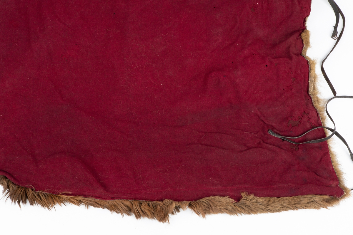 Brunbjørnskinn, Ull bakside.  Overside. Ryggskinn fra brunbjørn. I bredden utvidet med stykke av brunt flosset ullstoff, dette har merker etter pyntedusker;  i ytterkant smalt bjørnesinn. Underside i burgunderrødt diagonalvevet ullstoff. Vulst ved hodet i brunt skinn og rødt kledestoff. Reparasjoner og noen rifter på begge de brune sidestykkene (kode OU 513.4, 281)  Før Frogn kommune gav bort skinnfellen til Follo museum hadde den hengt på utedoen til Billitt barnehage, tidligere Billitt skole.