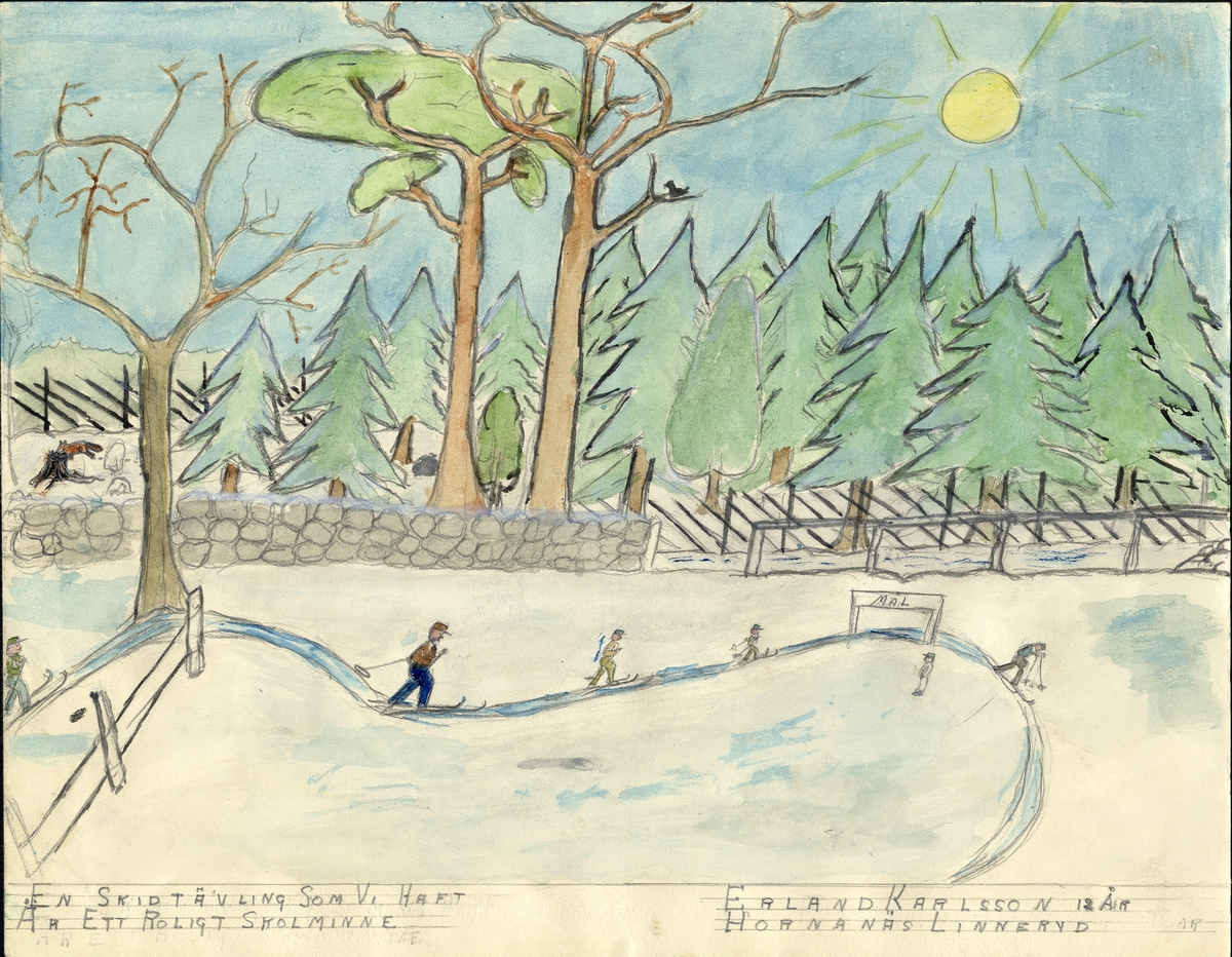 """Barnteckning - akvarell. """"Mitt roligaste skolminne"""". En skidtävling som vi haft...  Erland Karlsson, Linneryd, 12 år.   Inskrivet i huvudbok 1947."""