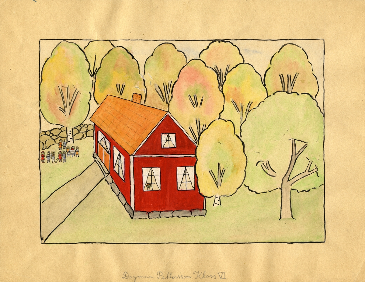 """Barnteckning - akvarell. """"Mitt roligaste skolminne"""". Barn med svampar vid skolan.  Dagmar Pettersson, Karsemåla skola, klass VI.   Inskrivet i huvudbok 1947."""