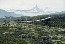Glomfjord kraftverk, hengebro ved Navervatn.