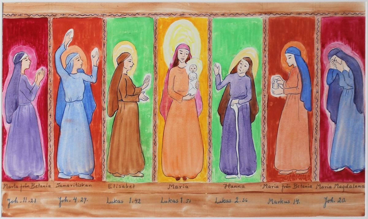 Maria Magdalena, Maria från Betania, Marta, Samaritiskan, Elisabet, Maria, Hanna