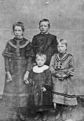 Familiebilde, søskenflokk på Eidehaugen