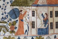 Dalmålerier, veggdekor, fra Lohn gård i Folldal.