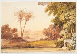 Landskapsmotiv från Södern [Akvarellmålning]