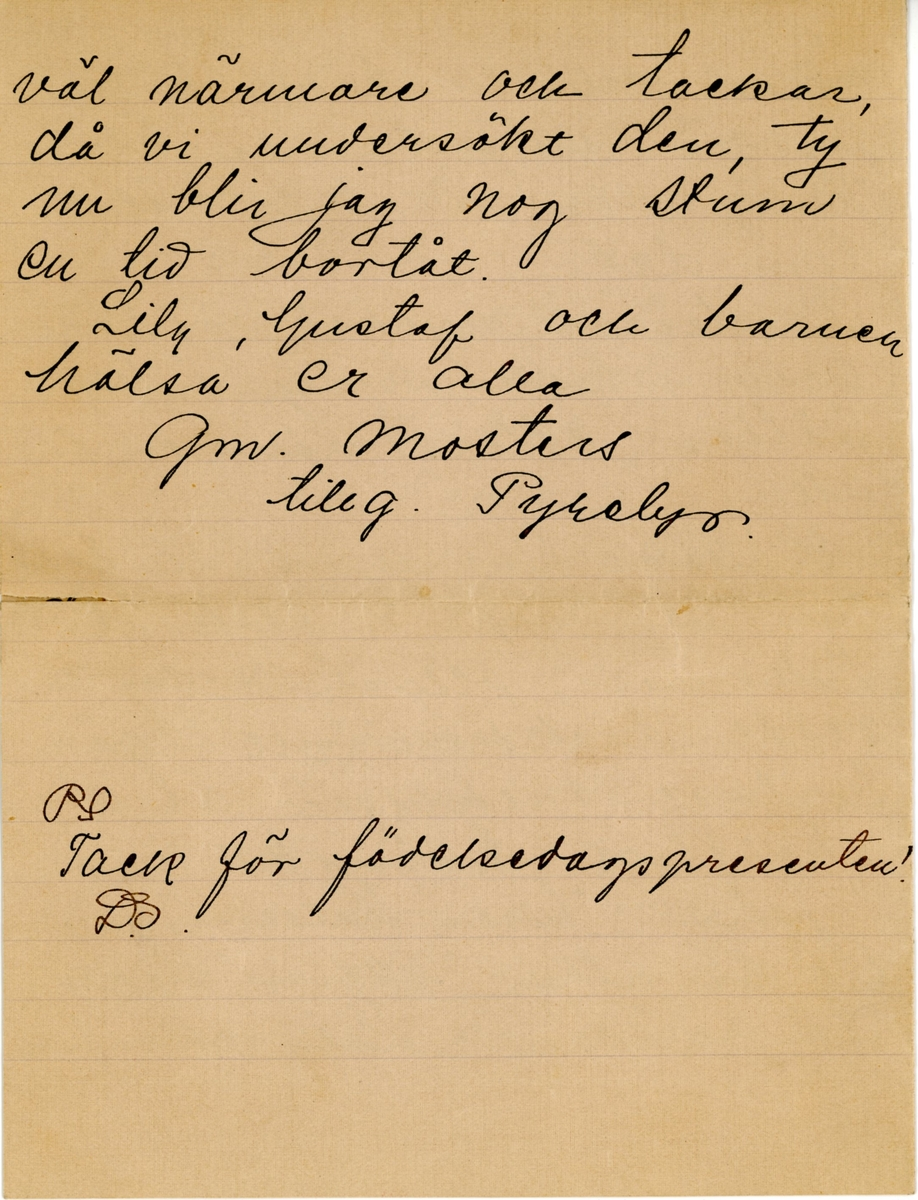 Brev skrivet julen 1912 av Pyrelyr (Ninni) Ramsey till hennes mostrer Ester Hammarstedt. Brevet består av fyra skrivna sidor på ett vikt pappersark. Handskrivet i svart bläck