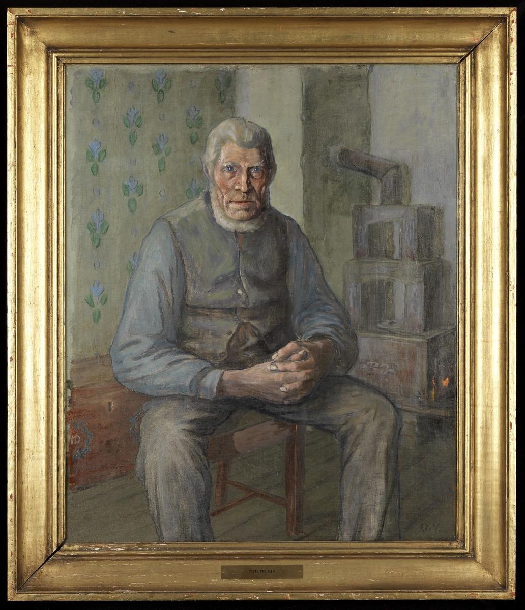 Mann, sittende, nesten helfigur, noe høyrev.,  hendene foldet, skjeggkrans; i bakgr. ovn, rød kiste; blågrå tone
