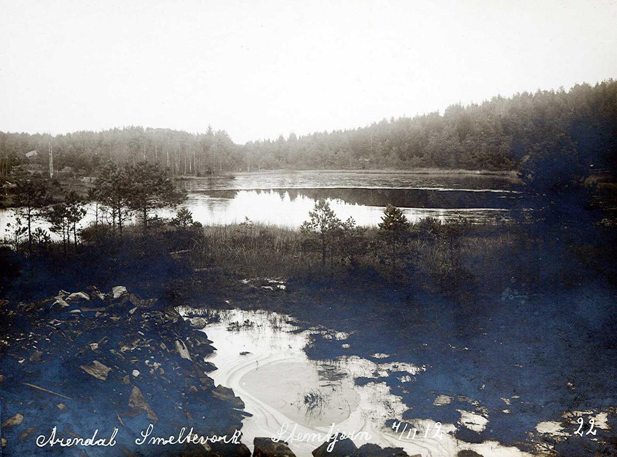 """""""04/11-1912"""" Nitriden. Smelteverket. Stemtjern. Vannkilden til bedriftene."""
