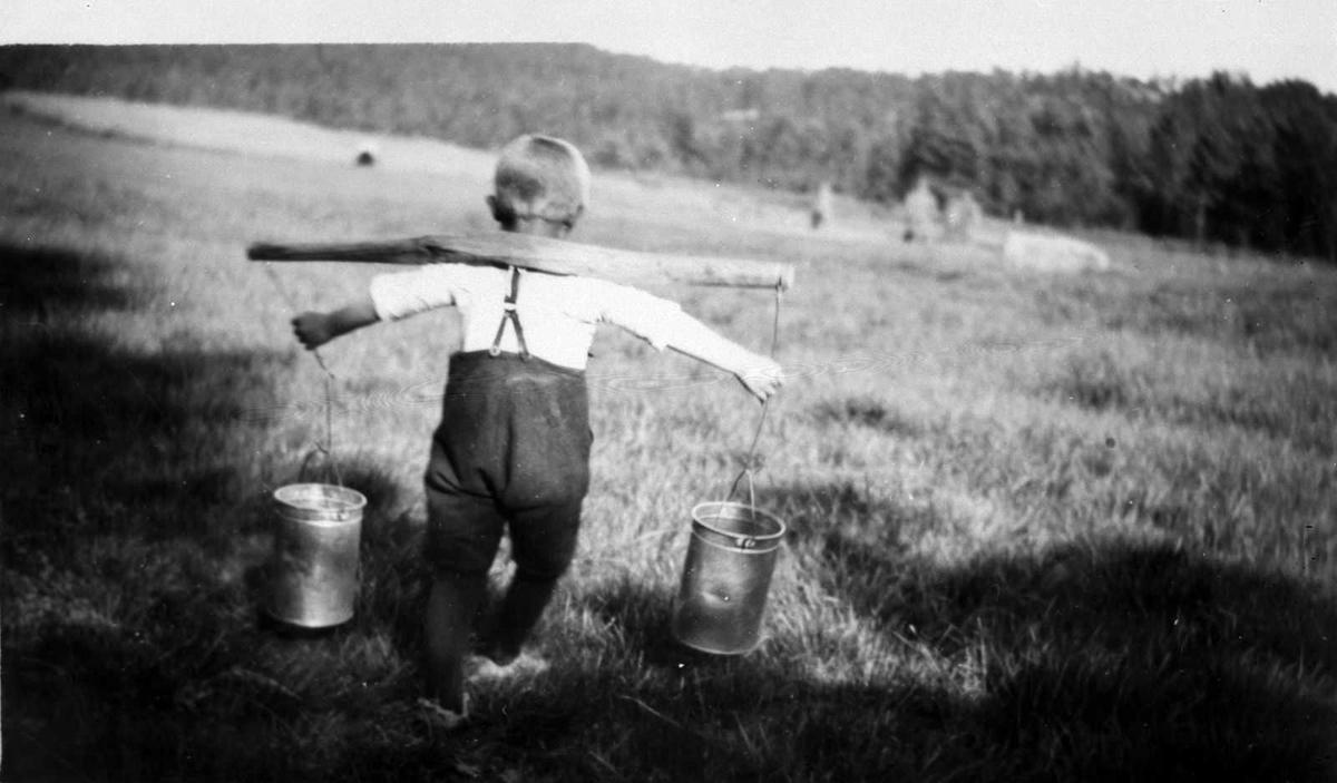 Åmlibilder samlet av Åmli historielag 5 år gamle Jon Lia bærer vann i åk