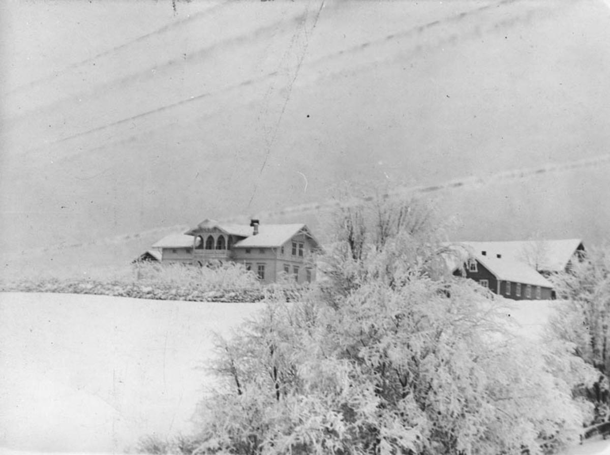 Vinterbilde, våningshus, driftsbygning