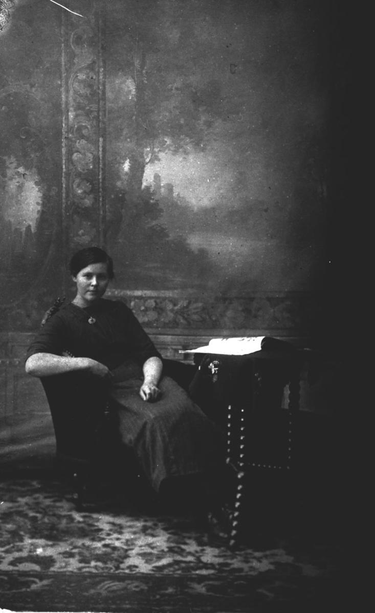 Ung kvinne i en stol. Atelierportrett.