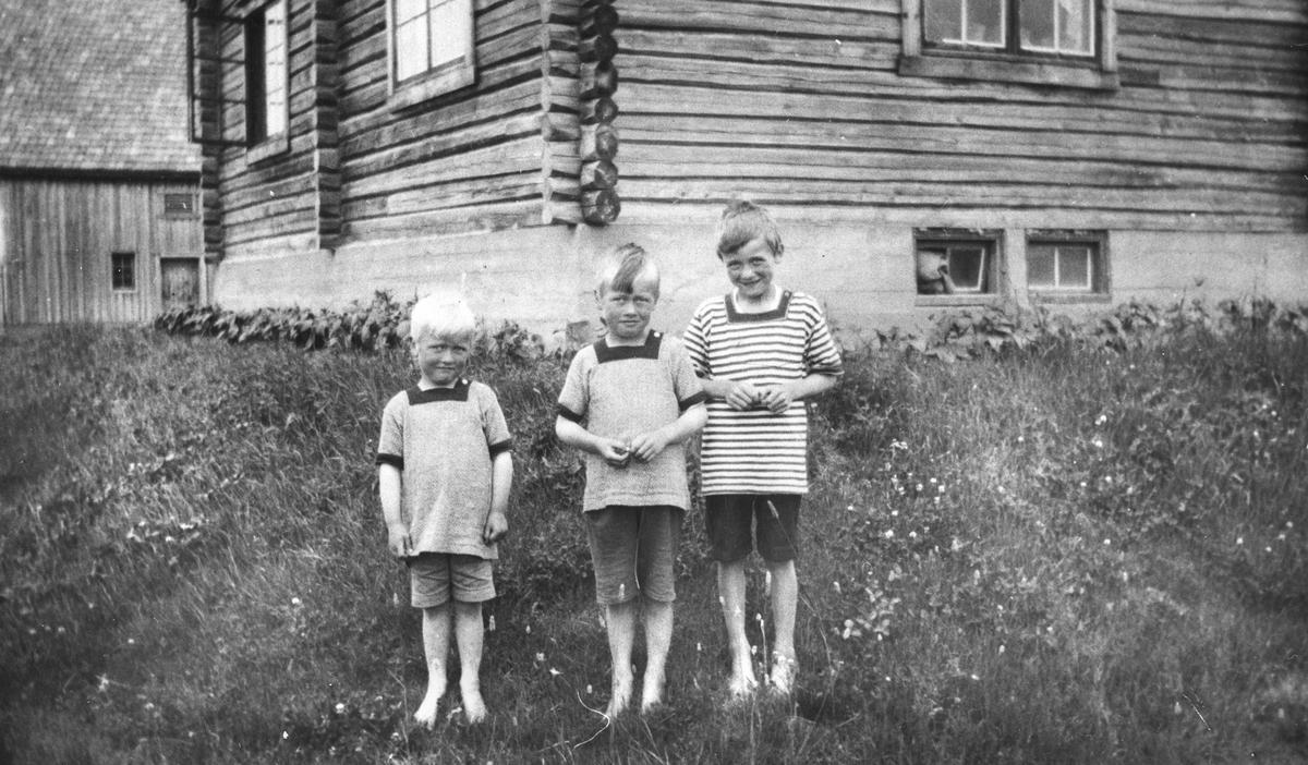 Barna på Tjernstad. F.v. Helge, Aleksander, Rolf Nilsen.