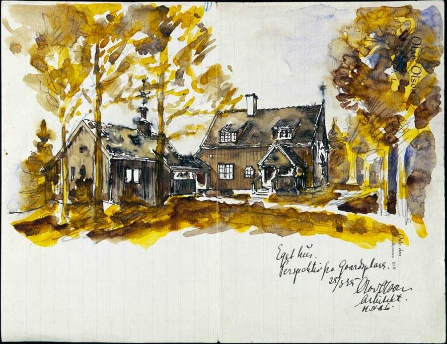 Tegning/akvarell over Olav Olsens eget hjem. Strømmen Trevare.