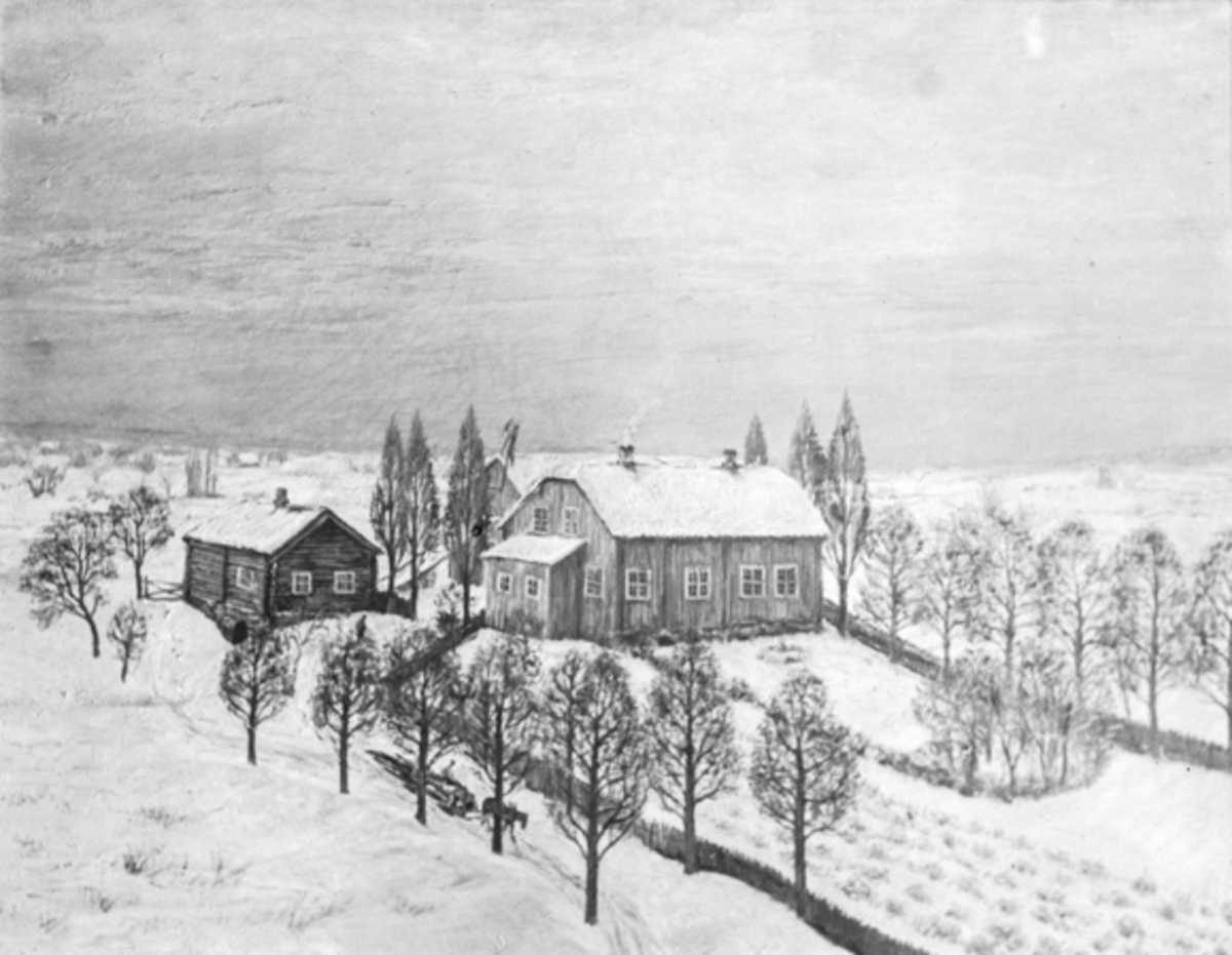 Blegstad. Gårdbruker Bundlie. Eidsvoll. Etter maleri av Alf Bjercke.