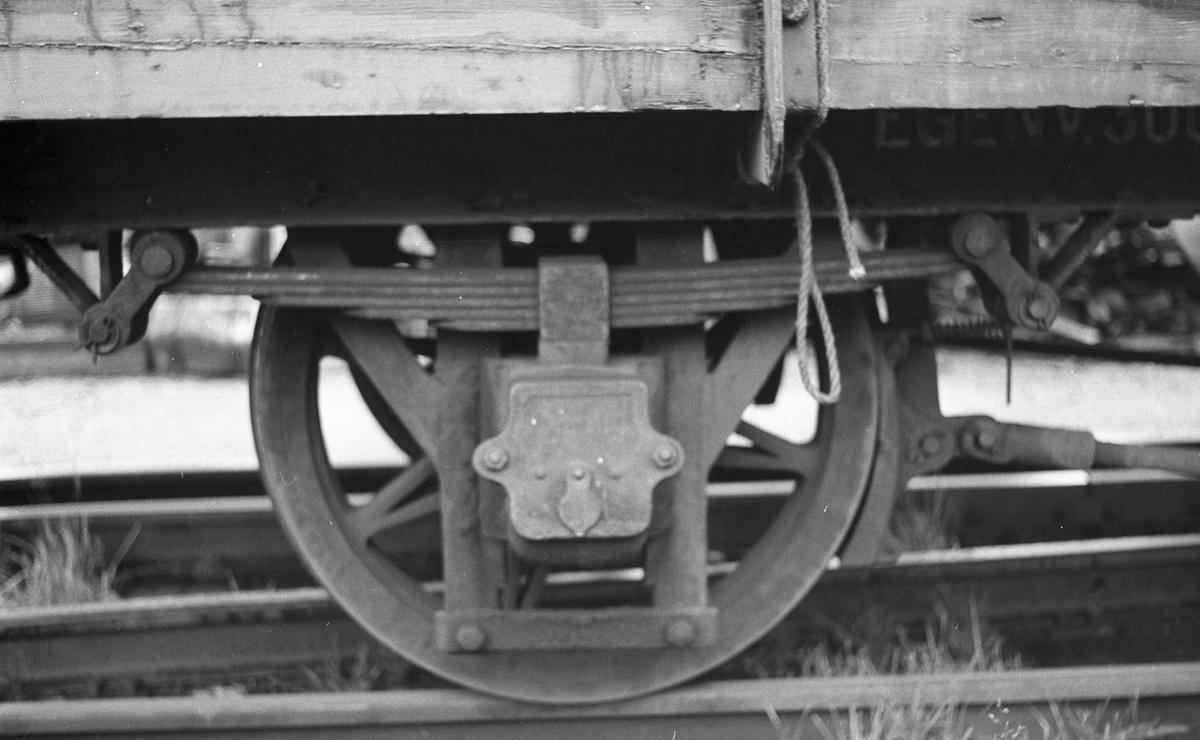 Hjul og hjuloppheng på fullastet godsvogn