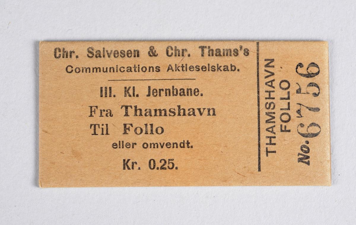 Rektangulær billett i papp for reise ved Thamshavnbanen.