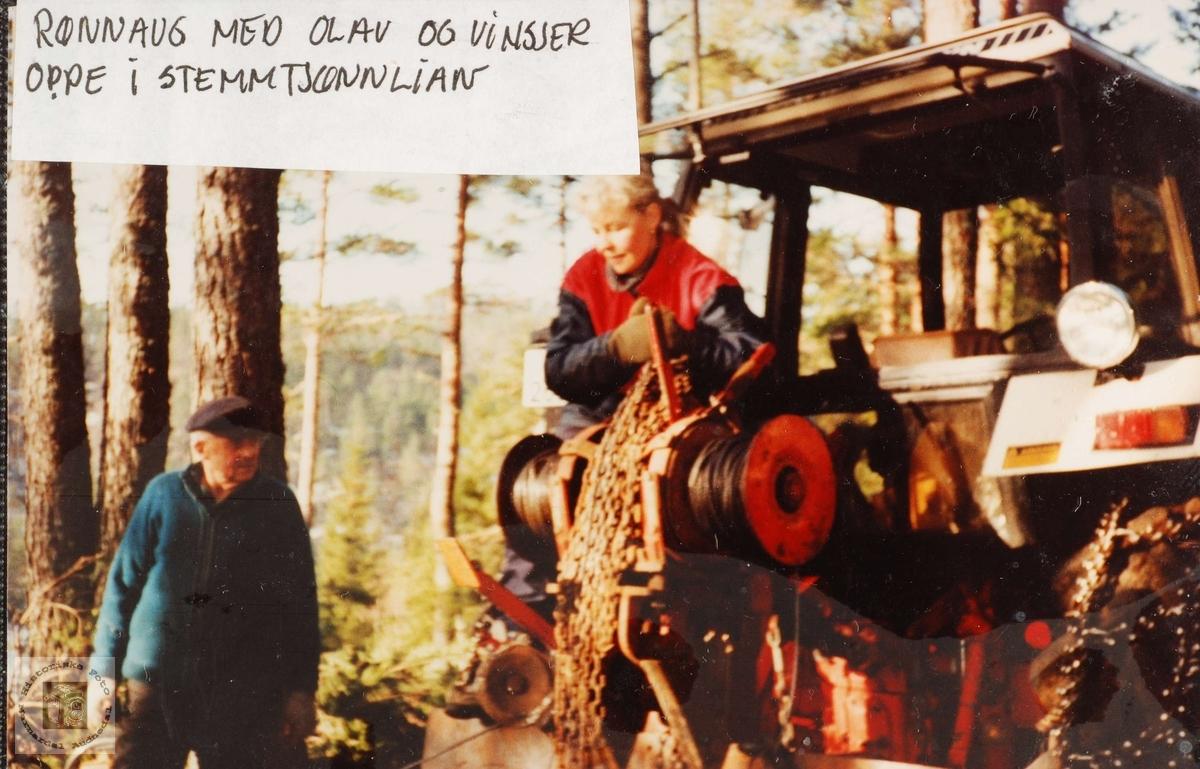 Henting av tømmer med vinsj på Smedland i Grindheim.