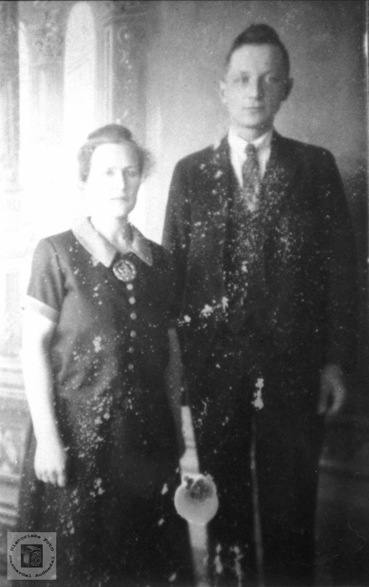 Portrett av ekteparet Anna og Torbjørn Tveit, Hornes.