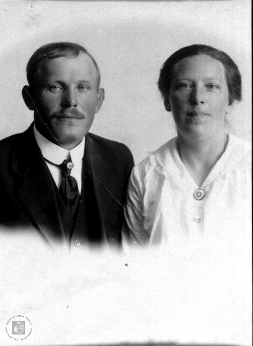Portrett av ekteparet Torjus og Ingeborg Tisland, Laudal.