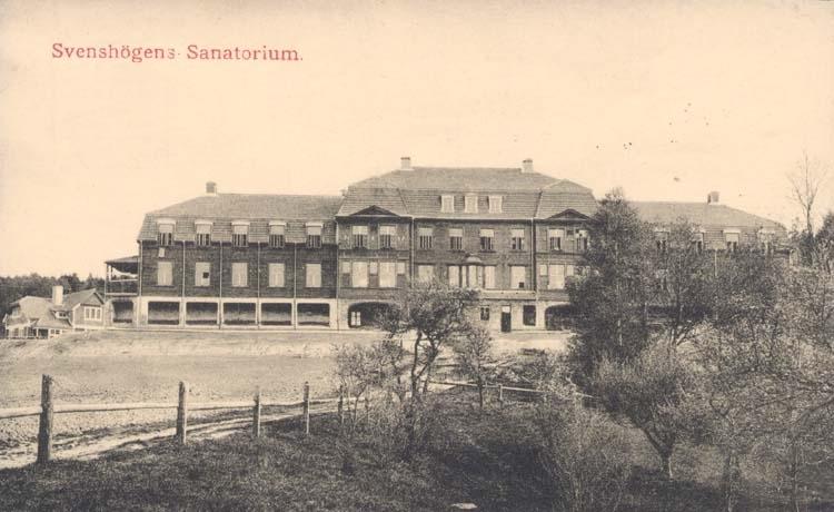 """""""Svenshögens Sanatorium."""" tryckt text på kortet."""